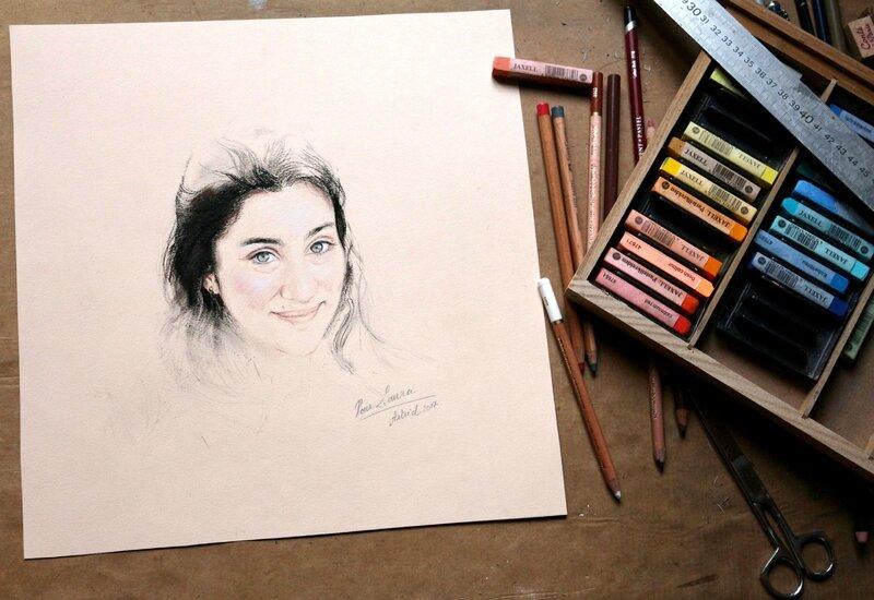 portrait jeune fille brune yeux verts crayosn pastel