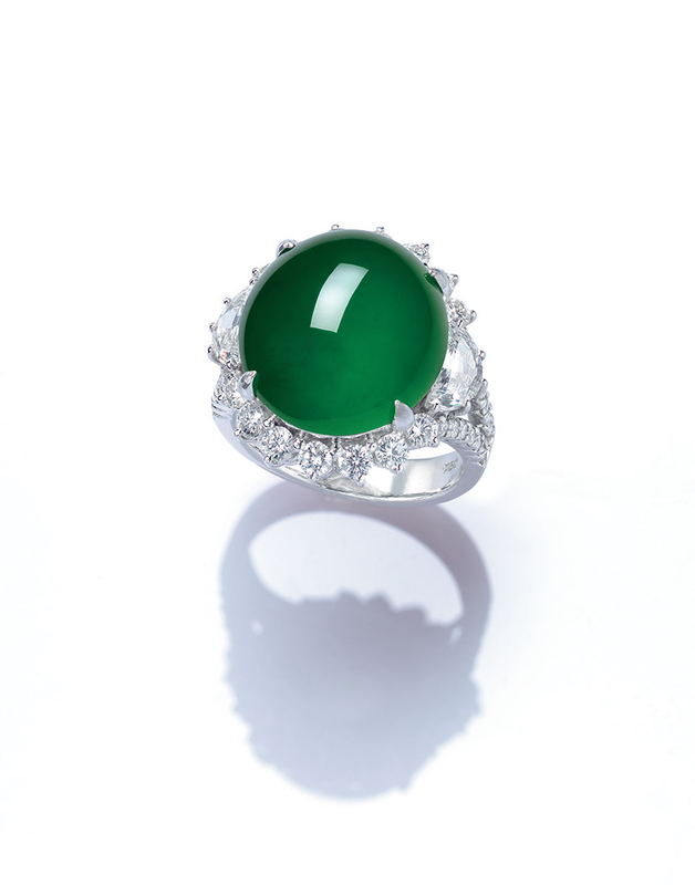 An important jadeite and diamond ring