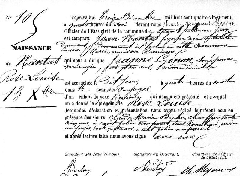 acte naissance Rose Nantas 1889