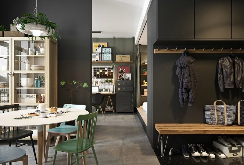 teal-school-chairs-Scandinavian-kitchen