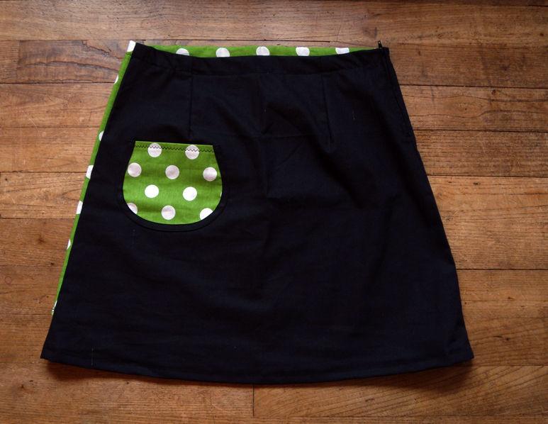 jupe noir et pans vert à pois (dos)