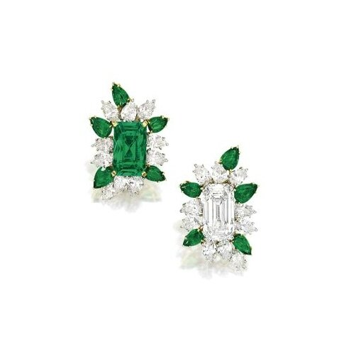 Unique Pair of Emerald and Diamond Earclips, Cartier