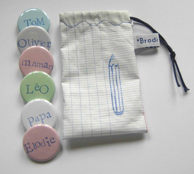 Brodi Broda-badge prénom personnalisé- pochette Cahier crayon
