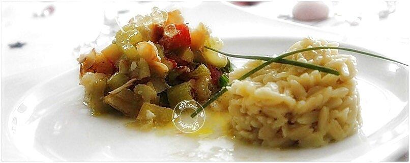 Dos de cabillaud au four, citron confit, celeri branche, amandes effilées, tomates.....