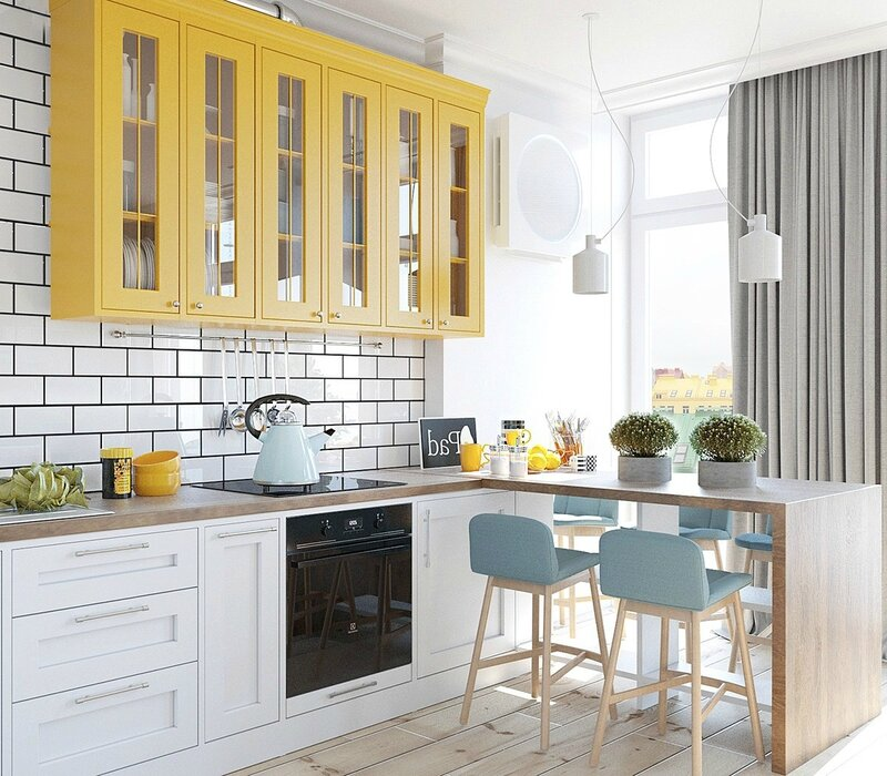 Pastel-kitchen-bright-mustard-cabinetry-baby-blue-kitchen-stools-light-wood