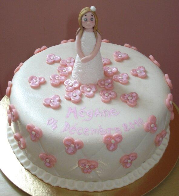 Gâteau baptême fleuri