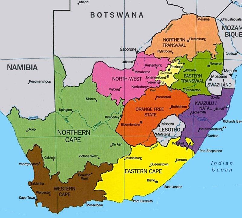 afrique-sud-province-carte