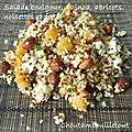 Salade de boulgour, quinoa, abricots, noisettes et feta