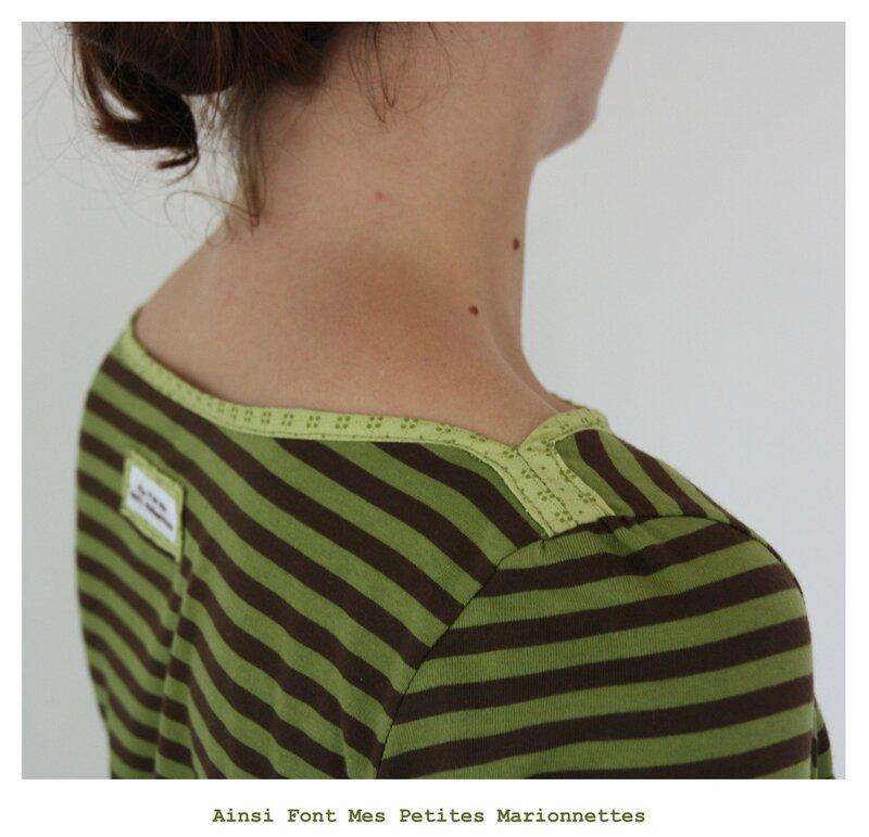 tee shirt rayures vert marron bouton 7