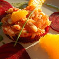 Salade d'écrevisses et saumon fumé, betteraves et oranges