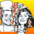 Caricature cuisinier et serveuse en restaurant - fiancailles