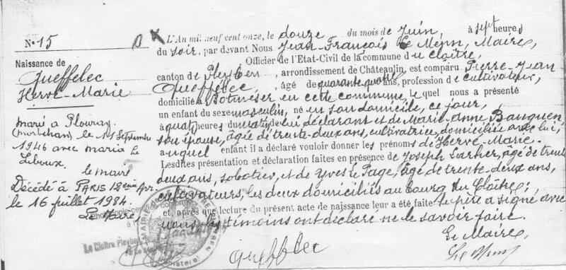 1911 au Cloître Pleyben N Hervé Queffelec