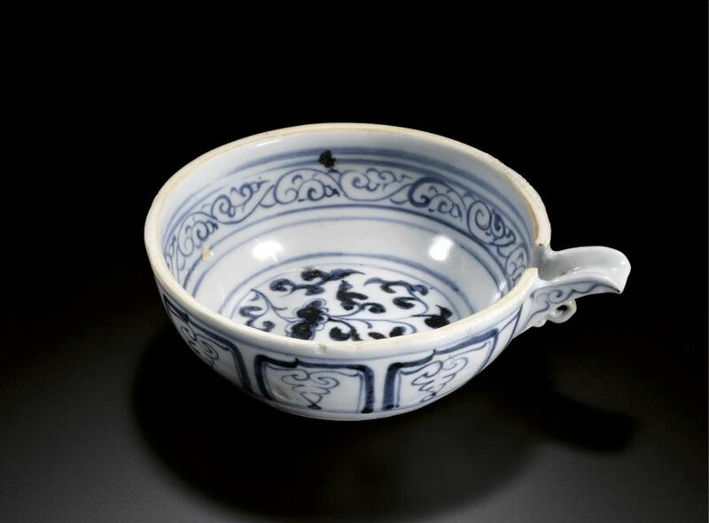 A rare blue and white pouring bowl, Yuan dynasty