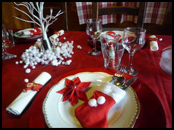 D coration table noel rouge et blanc - Decoration table de noel rouge et or ...