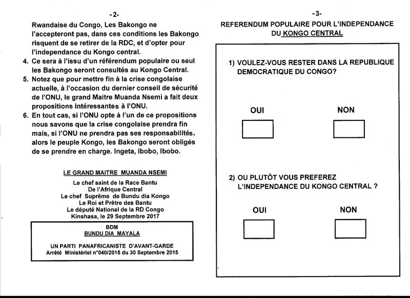 REFERENDUM POPULAIRE POUR L'INDEPENDANCE DU KONGO CENTRAL b