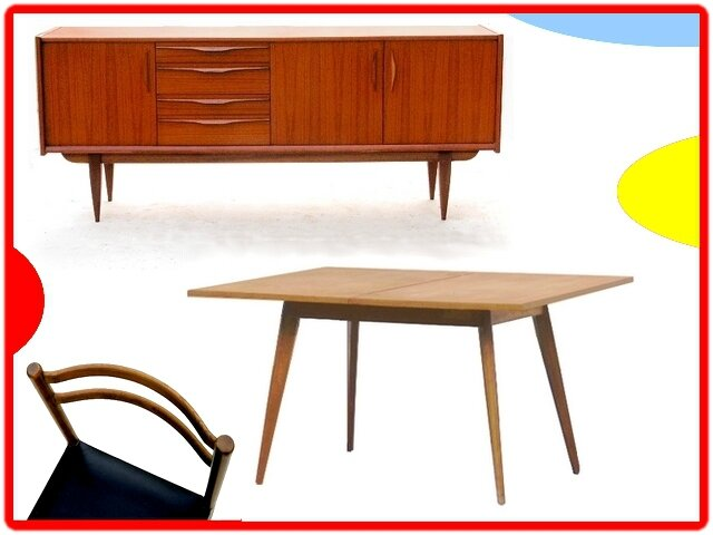 table de repas pliable vintage scandinave 1950 1960 vendu. Black Bedroom Furniture Sets. Home Design Ideas