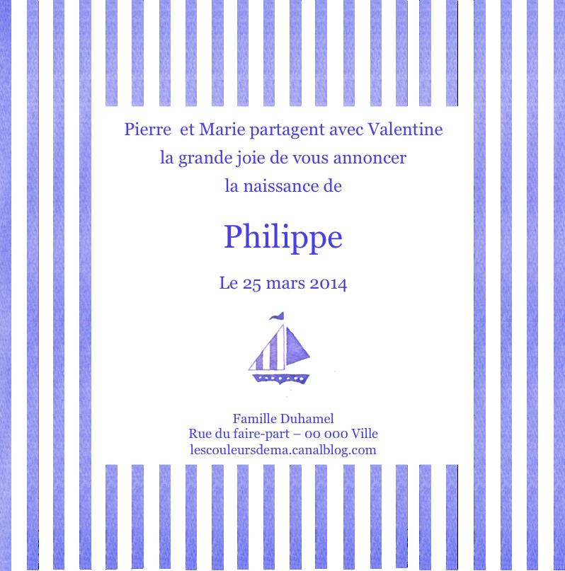 FP rayures verticales bleues et blanches et pt bateau modèle Philippe