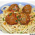 Spaghettis aux boulettes de boeuf bolognaise