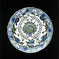 Dish, iznik, turkey, ca. 1555-1560