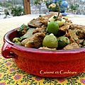 Tajine de veau aux olives vertes, citron & amandes
