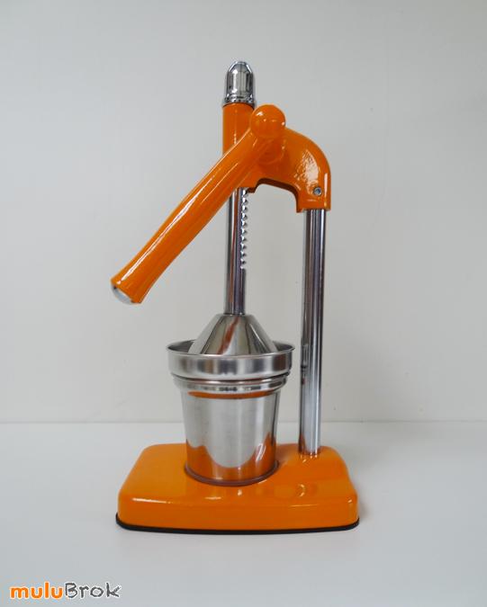 Objet style vintage presse fruits levier orange et chrome mulubrok brocante en ligne - Presse agrume manuel a levier ...