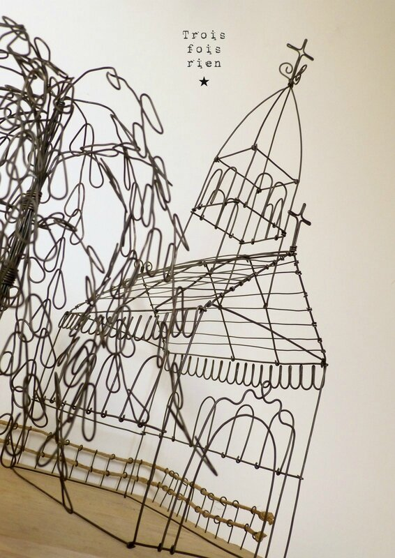 There is no place like home, wire art, fil de fer, wire, wire tree, wire house, wire church, trois fois rien 4