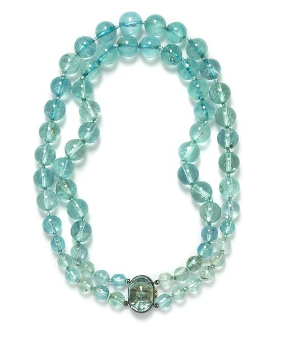 A Silver, Aquamarine and Green Beryl Double Strand Necklace, Suzanne Belperron