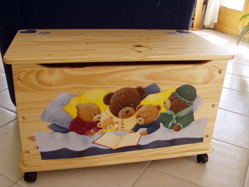 Coffre jouets gar on ou fille tous tes peinture sur bois - Coffre a jouet fille ...