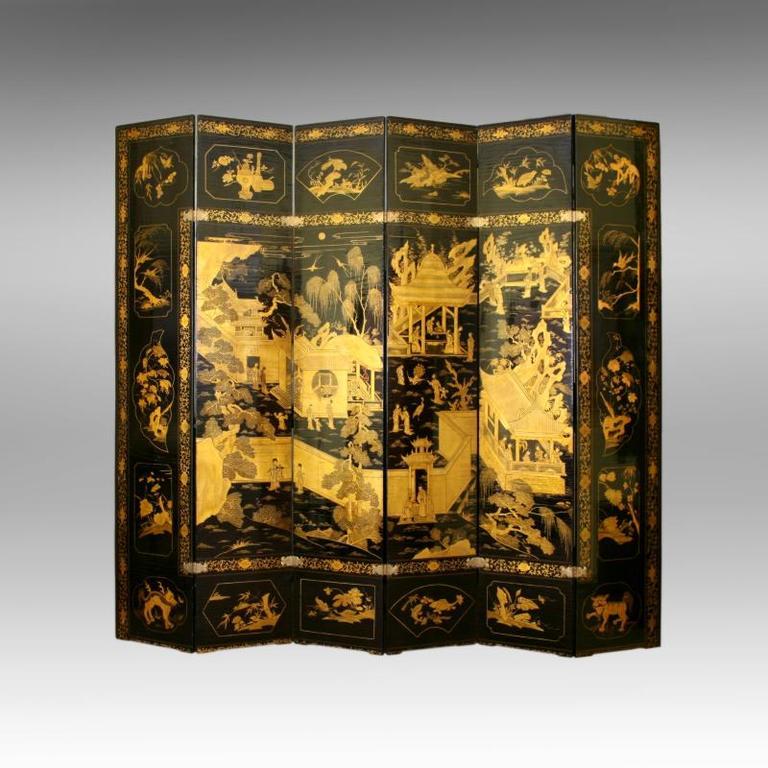 Paravent à six feuilles en laque Chine, XVIIIe siècle