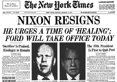 Richard Nixon resigns NYT frontpage