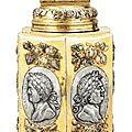 Grande boîte hexagonale en argent et vermeil (canister) par johann drentwett, augsbourg, 1689-1692