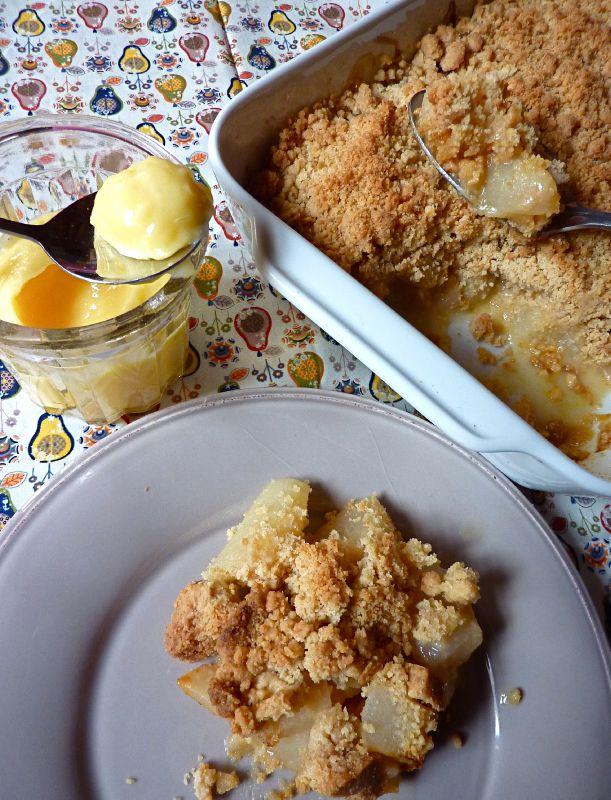 Crumble de poires au lemon curd