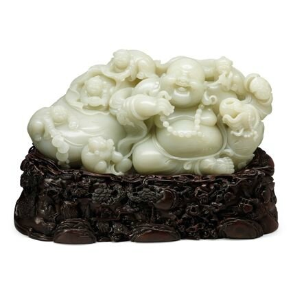 White Jade Laughing Buddha' Ornament