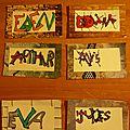Arts visuels : etiquettes porte-manteau prénom et tag