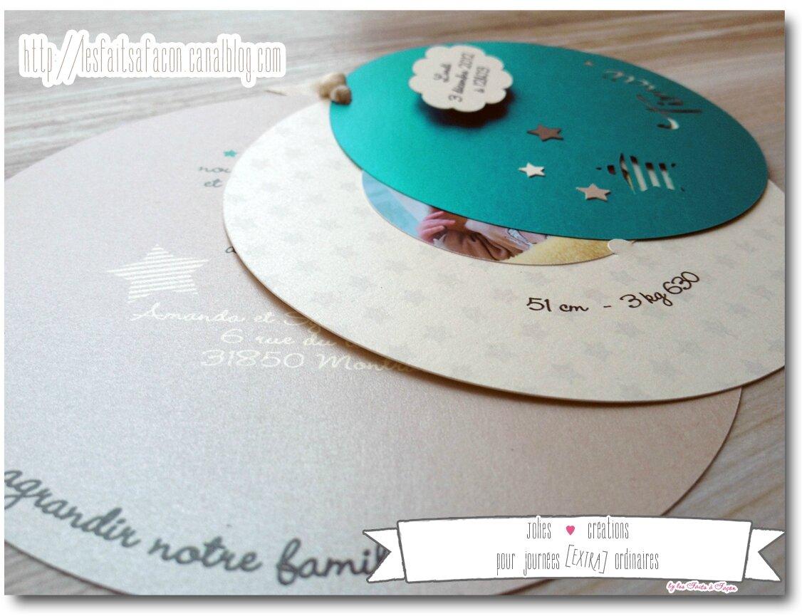 Connu Faire-part de naissance rond thème étoile et nuage - Jolies  WM32