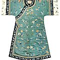 A teal-green silk woman's robe with butterflies, changyi, 19th century