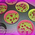 Muffins au thé vert matcha et aux groseilles