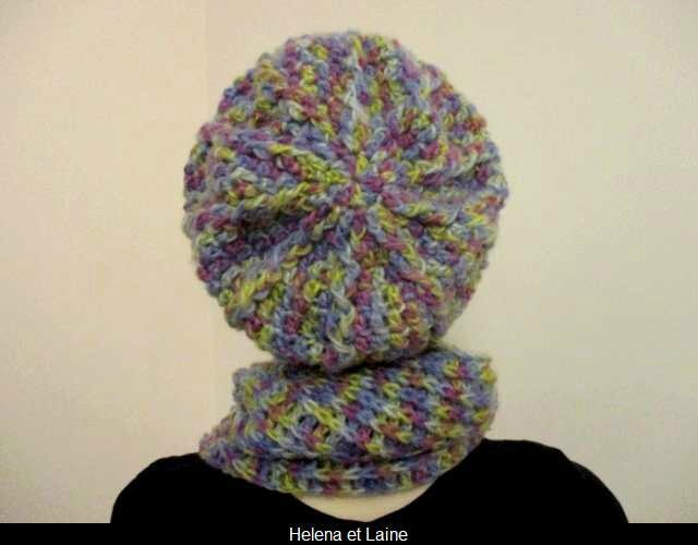 Ensemble bonnet et snood multicolor au crochet1