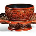 A cinnabar lacquer Floral cupstand. Ming dynasty, 15th century - Sothebys