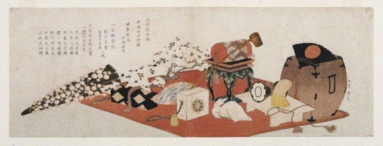 Hokusai Nature morte d'objets de cérémonie