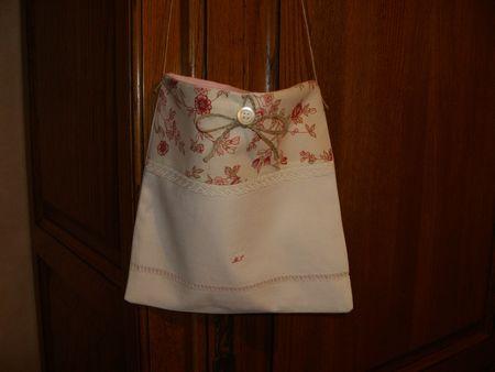 pochette drap ancien fleurie