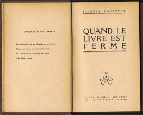 Livre Jacques Constant Quand le livre est fermé