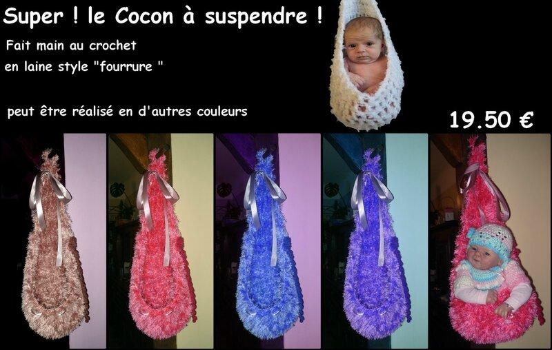 cocon a suspendre laine fourrure