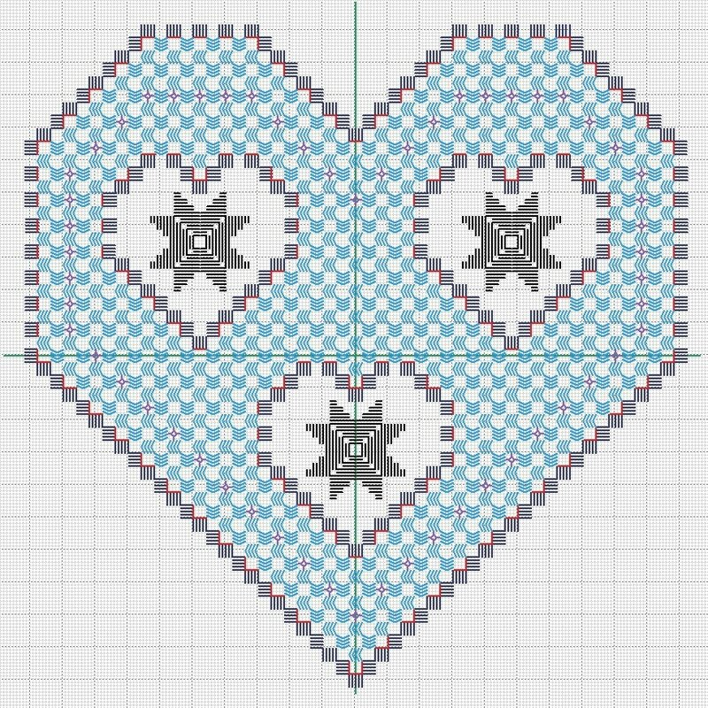 hardanger coeur 30x30 GRILLE