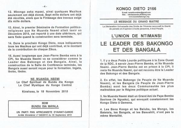 LE LEADER DES BAKONGO ET DES BANGALA a