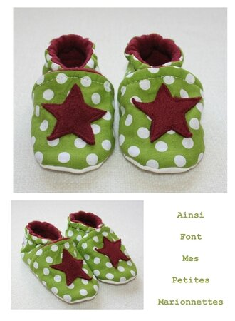 chaussons etoile pois vert