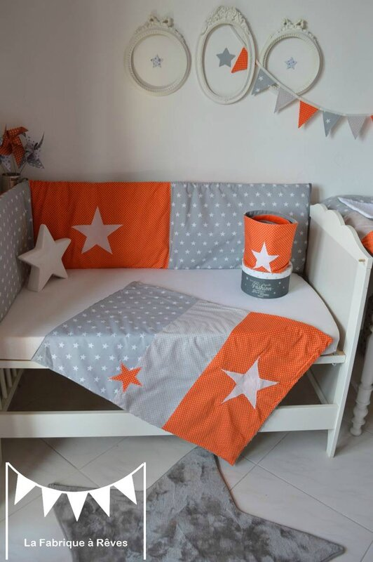 couverture b b gar on polaire coton gris orange toiles blanc d coration chambre gar on photo. Black Bedroom Furniture Sets. Home Design Ideas