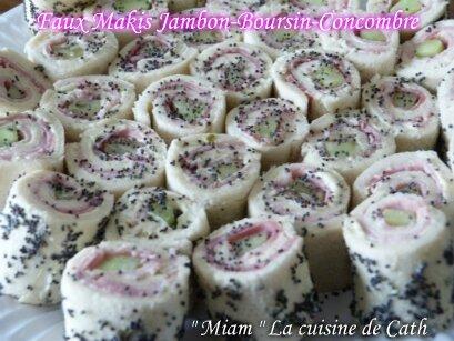 """ღ """" MIAM """" Faux Makis Jambon-Boursin-Concombre"""