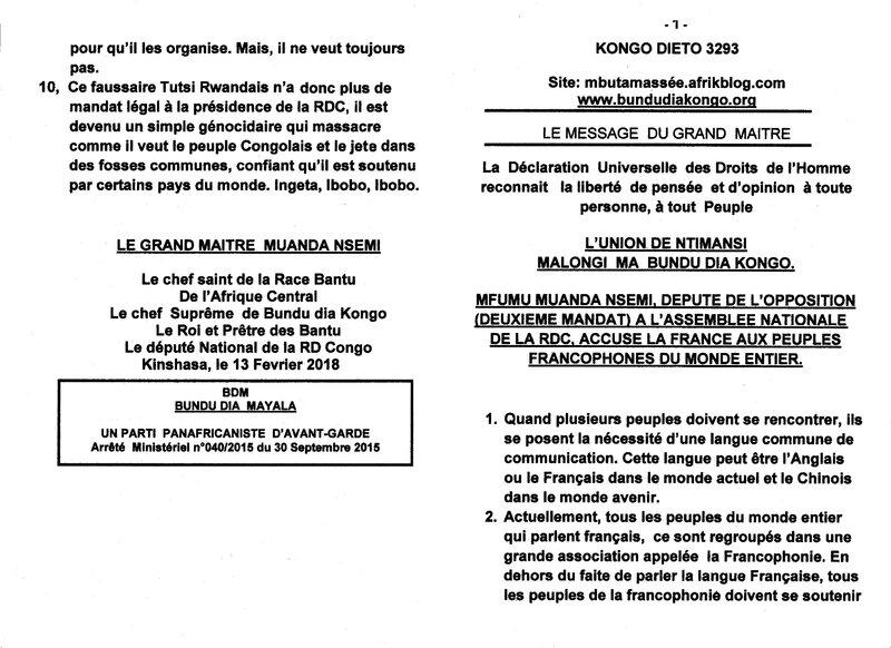 MFUMU MUANDA NSEMI ACCUSE LA FRANCE a
