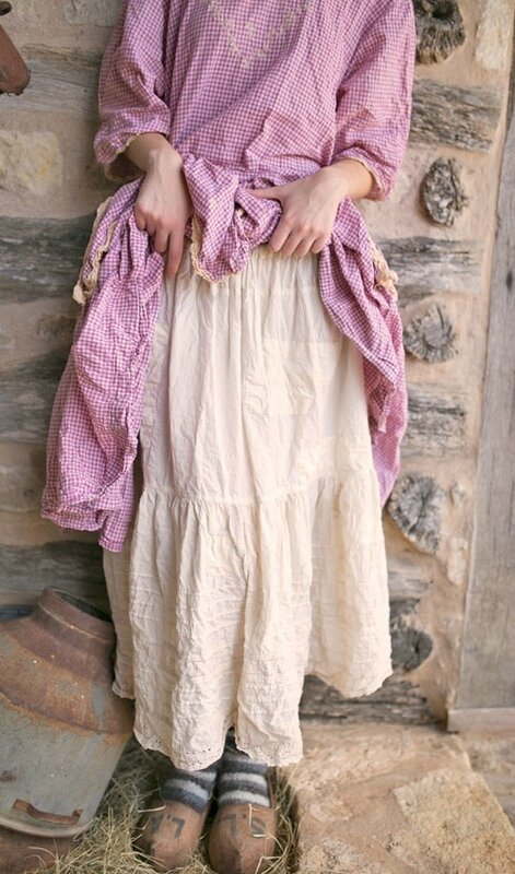 MP french-cotton-eyelet-cecily-skirt-with-hand-mending-patches